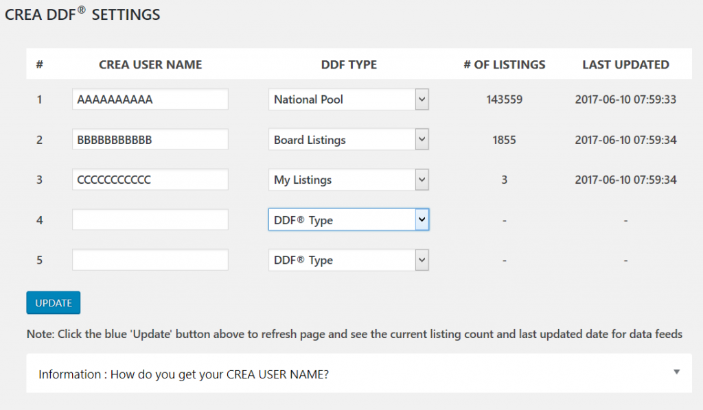 CREA DDF® settings