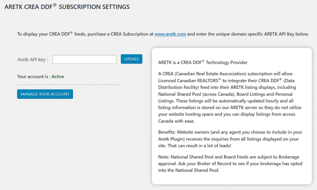 ARETK CREA DDF® subscription settings